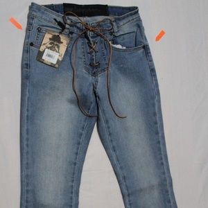 ONE TABLESPOON SSY CBAINE BLU LACE UP FLARE JEANS